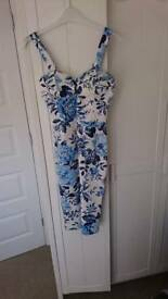 Dress - white and blue floral size 10