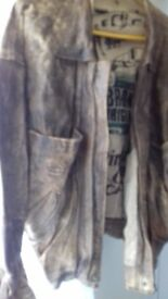 BRONX original leather jacket brown and tan worn look with an original hand printed inner lining