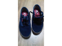 Vans off the wall, blue suede shoes. Size3