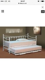 Day bed , cream wrought iron with trundle, matresses not included