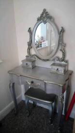 Beautiful silver dressing table and stool