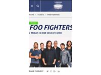 FOO FIGHTERS TICKETS STANDING £70 LONDON FRIDAY