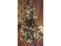 Fibre optic Xmas Tree 6ft. Bag full of nice decorations as seen in photos