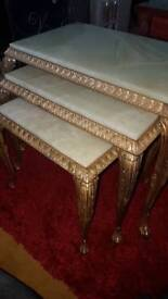 Set of Green Marble Onyx Tables