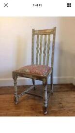 Chair, shabby chic with elephant fabric seat.