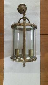 Brass and glass hanging light fitting