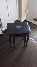 Nest of tables in grey with shabby chic heart detail
