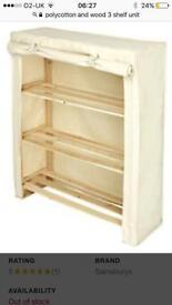 3 shelves polycotton & wooden unit