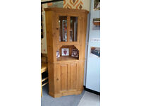 Solid Pine Corner Display Cupboard