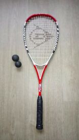 Squash racket Dunlop hotmelt carbon with case, rarely used!