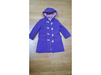 Mini Boden purple duffle coat age 5-6