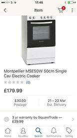 New naver been used Montpellier 50 cm single cav electric cooker £99