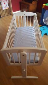Wooden white cot crib
