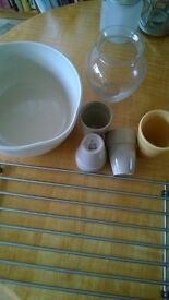 Kitchen bundle lot new IKEA cutting board bakers rack cups bowls vase large stoneware bowl 5 for all