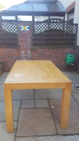 Solid Dining Room table and six highback chairs