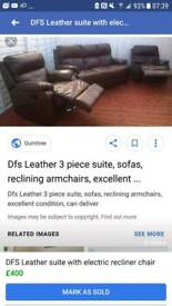 3 piece with electric recliner chair