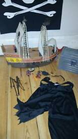 playmobile pirate ship, pirate treasure chest and pirate outfit