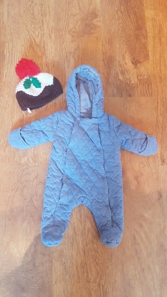 0 - 3 months thick pram suit and Christmas hat.