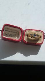 "Genuine ""Antique"" 18ct Sapphire & Diamond Ring in original box - Jewellers Size L"