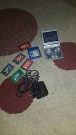 Gamboy Advance SP with 6 pokemon games