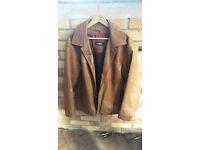 Mens Strellson Light Brown / Tan Leather Jacket 42 Medium