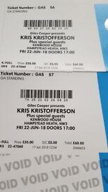 Two Kris Kristofferson tickets Kenwood House
