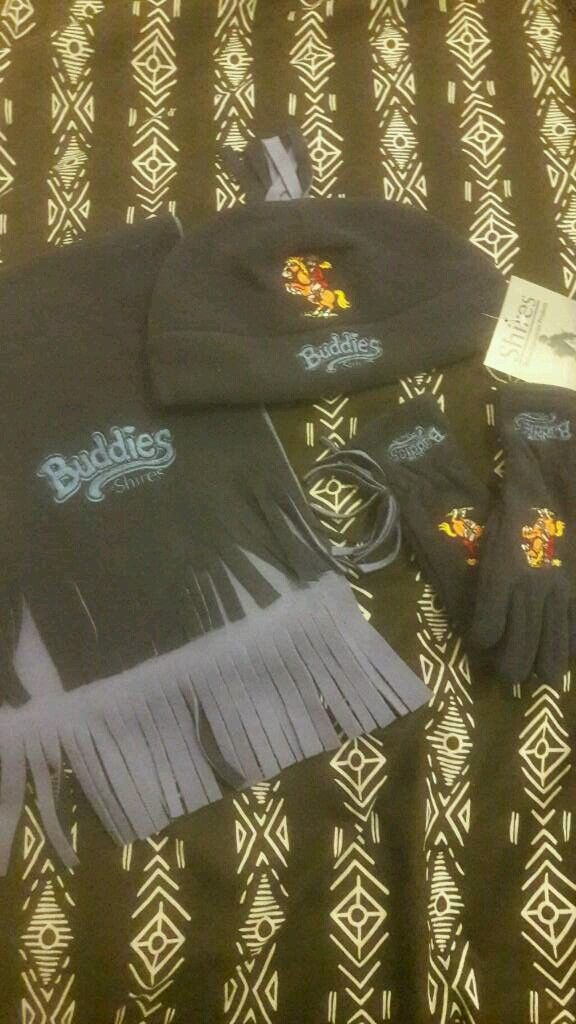 Shires Buddies horse hat scarf and glove set. Childrens