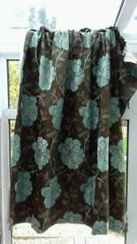 Marks and Spencer Brown and duck egg floral curtains