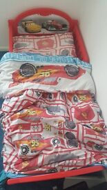 Cars toddler bed with cars bedding