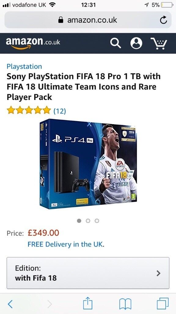 Ps4 pro with fifa 18 brand new not even opened
