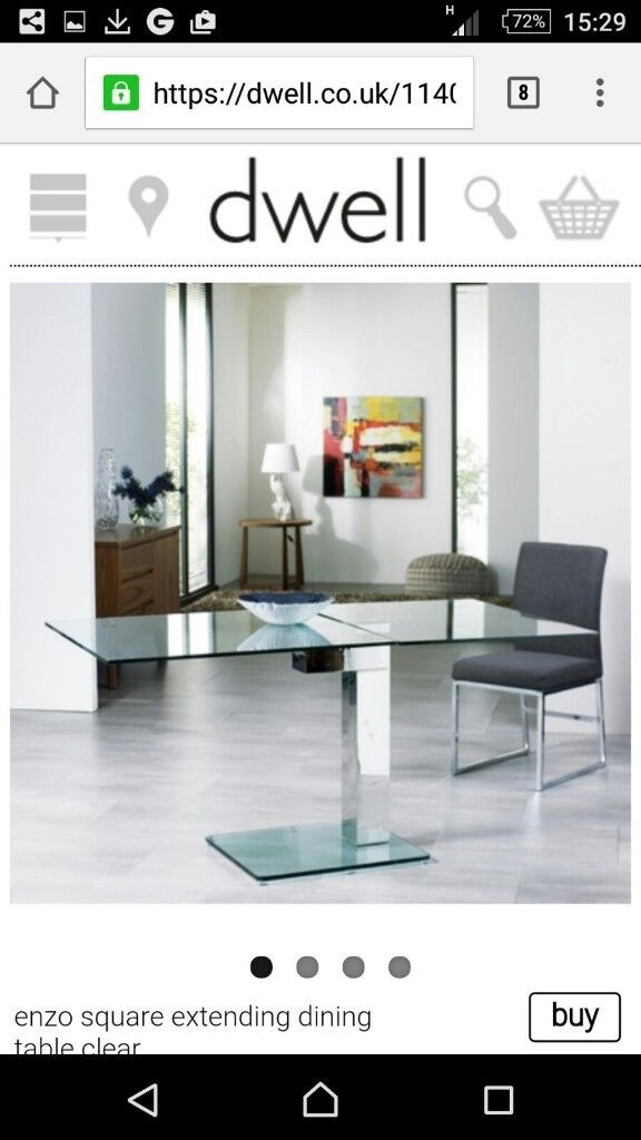 Dwell Enzo square extending dining table