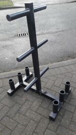 Olympic 2-inch Weight Plate Tree Rack with 6 Barbell Holder