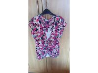 M&S Per Una top. Size 10. Brand new with tickets attached. Pink/navy/cream floral pattern