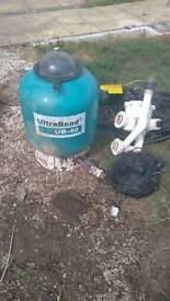 Pond filter, flourescent light and pump
