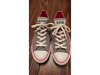 Converse all star unisex low grey pink canvas trainer shoes size 8