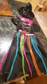 Witch halloween costume and velvety hat age 8 - 10 dress up