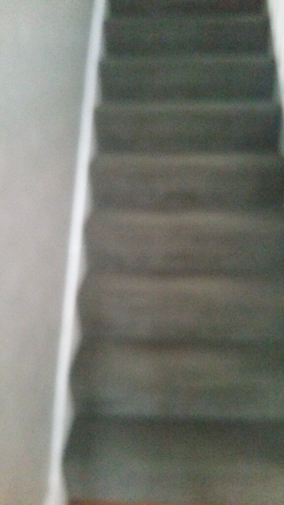Good Quality Used Carpet And Underlay. Charcoal Colour Carpet. Comprising 3  Stair Runs And