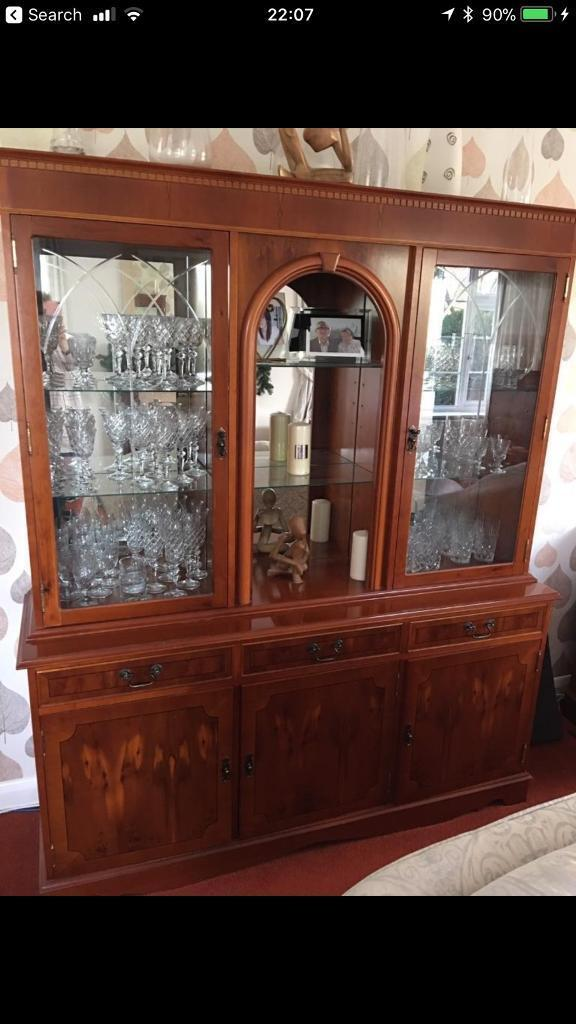 Solid Yew Display Cabinet (matching Sideboard/cabinet Available In Another  Ad)   In Crewe, Cheshire   Gumtree