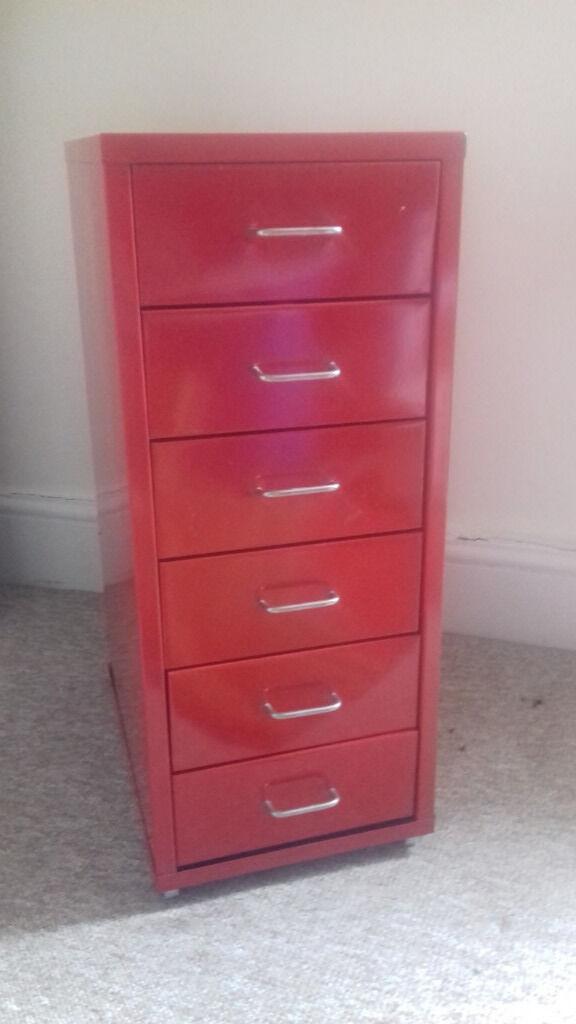 Bon IKEA RED METAL STORAGE CABINET (six Drawers)   25% Price Drop!
