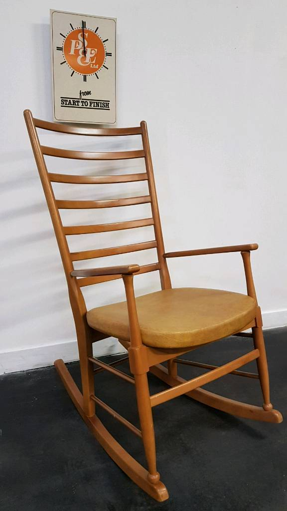 Retro 60s G Plan Danish Style Rocking Chair With Mustard Vinyl Seat Cover