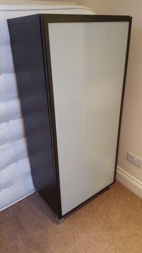 IKEA Besta Storage Cupboard In Black Brown With Frosted Glass Door
