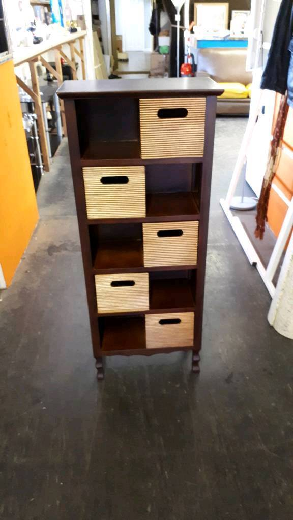 Mahogany And Bamboo Storage Drawers