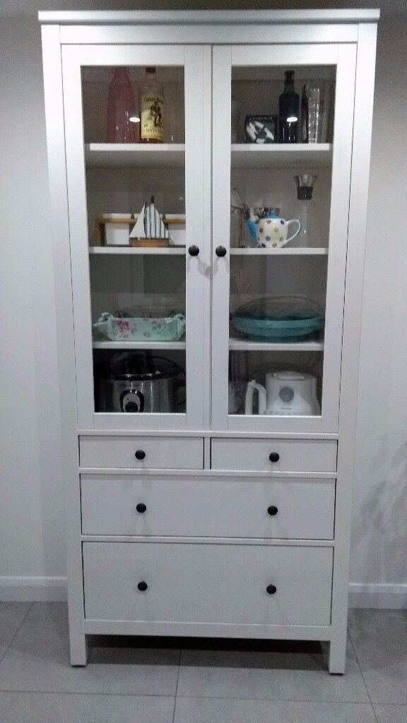 Ikea Hemnes Glass Door Cabinet With Drawers In White Temple