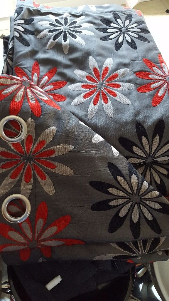 2 Pairs Of 66 X 90 Harry Corry Black/grey/red Floral Eyelet Curtains