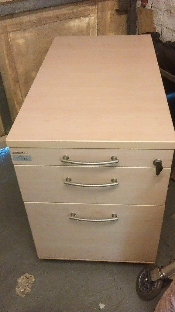 Under Desk 3 Drawer Pedestal/filing Cabinet. With Key To Lock