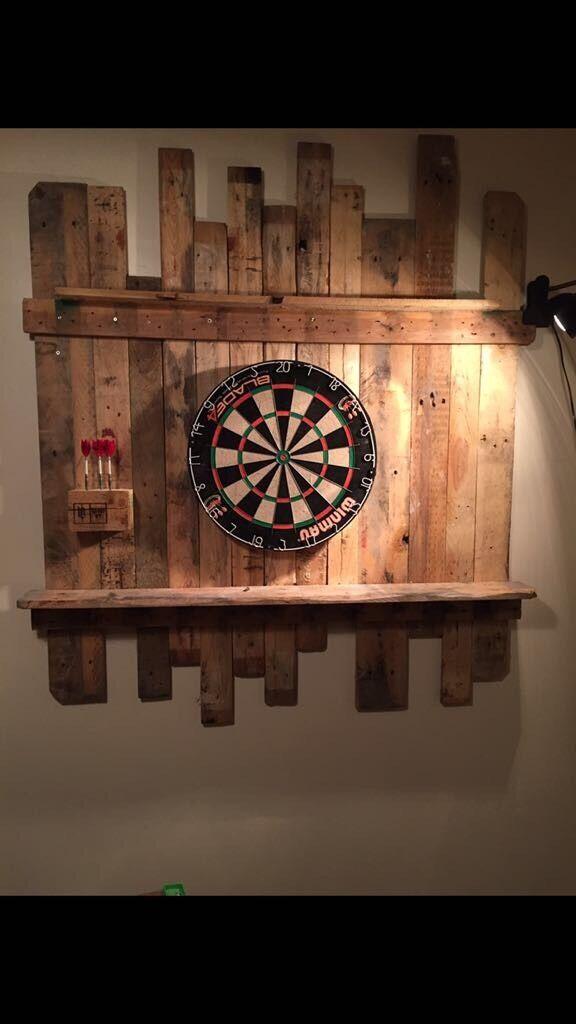 Wooden Dart board backing pallet furniture bespoke man cave