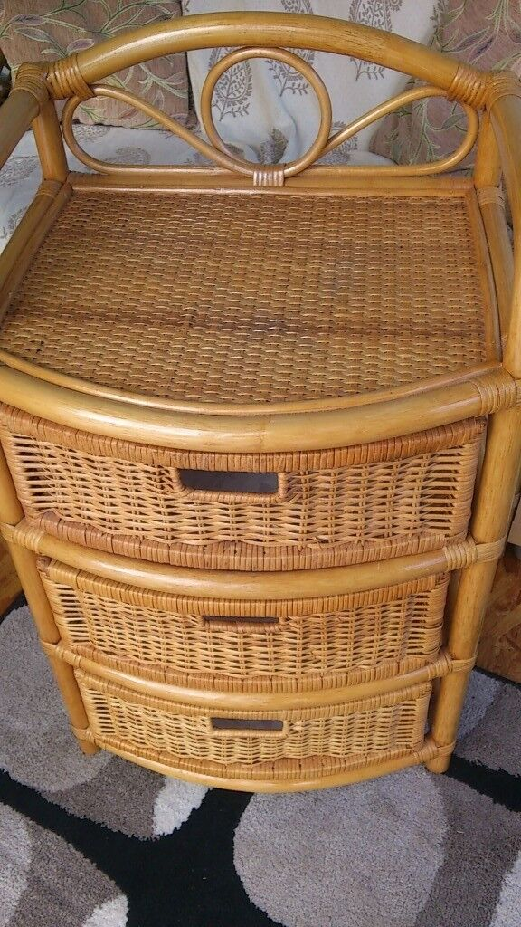 Three Drawer Cane Chest, Very Versatile, Could Be Used In Conservatory,  Bedroom E.t.c.