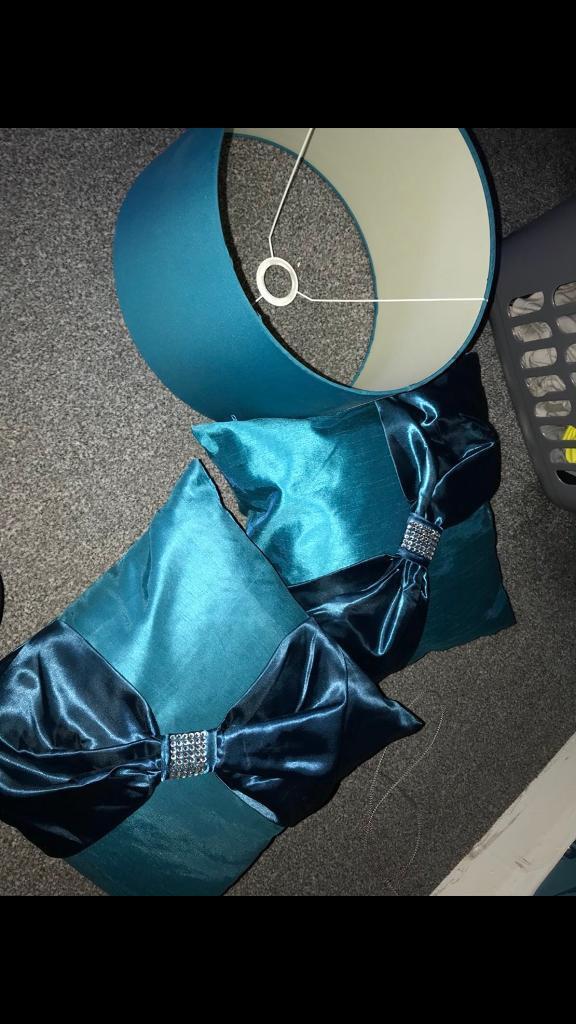 2 Teal Sofa/bed Cushions And Matching Lamp Shade