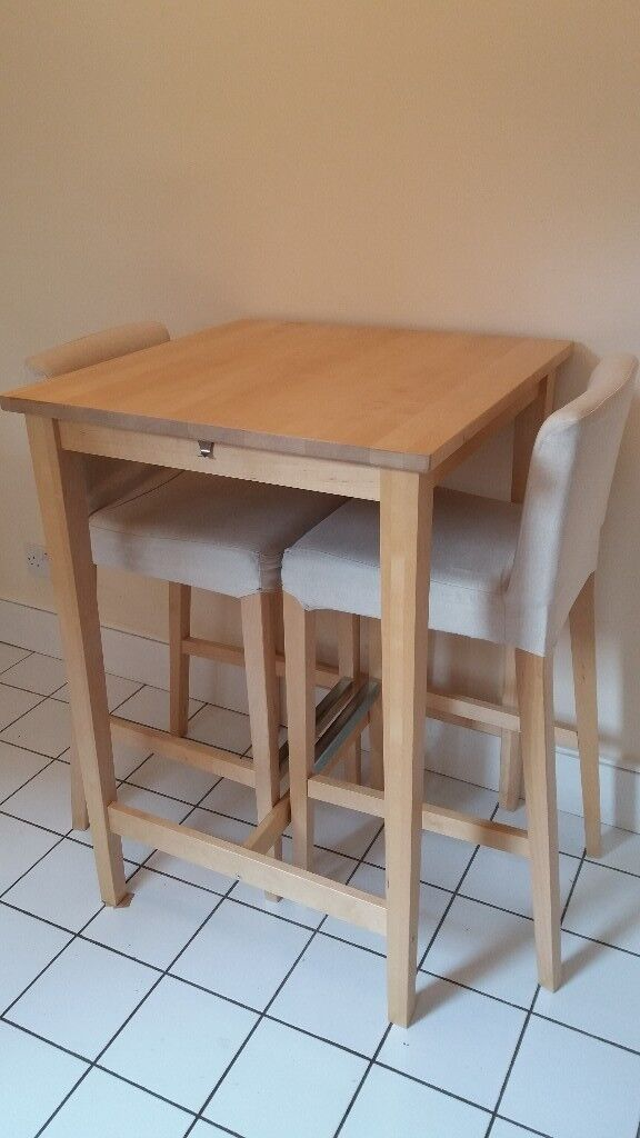 Ikea Bjorkudden Breakfast Bar Table With Matching Chairs
