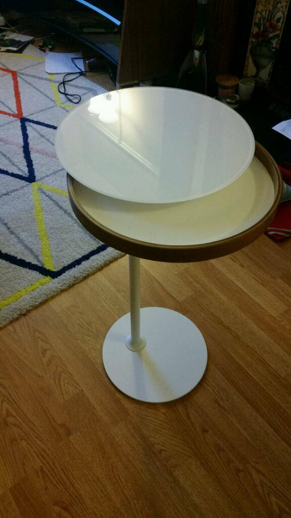 IKEA Stockholm White Side Table With Glass Swivel Top